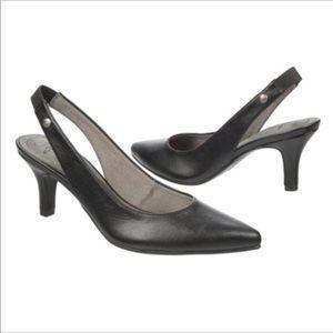 Life Stride Shena Pointed Toe Black Slingback Heel